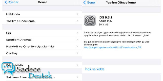 sadecedestek IOS 9.3.1 güncellemesi. Yayınlandı.
