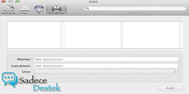 Yeosemite ye windows print server'dan printer ekleme